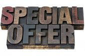 special offer - isolated words in vintage letterpress wood type with ink patina
