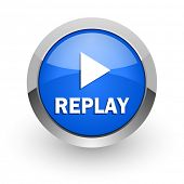 replay blue glossy web icon