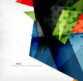 Modern 3d glossy overlapping triangles in different colors with texture and light effects. Business