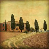 Farmhouse in Tuscany in grunge and retro style.