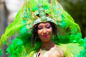 ROTTERDAM, THE NETHERLANDS - JULY 19, 2014, Carnival dancer at the street parade at the Summer Carni