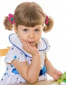 beautiful little girl with pigtails charming.