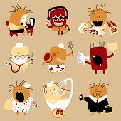 Icon set of doodle flat personages in the form of comic human characters in various life occupations and emotions (contain the Clipping Path of all objects)