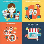 Vector collection of flat and colorful business, marketing and finance concepts. Design elements fo