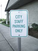 CITY STAFF PARKING ONLY Sign poster