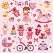 Baby girl with Baby toy  icons.eps