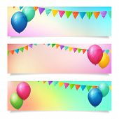 Set Of Birthday Summer Blurred Vector Banner Background
