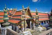 Giant Sculpture Grand Palace Also Calles Wat Phra Kaew In Bangkok, Thailand Temple.