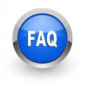 faq blue glossy web icon