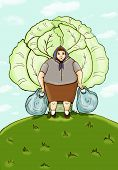 picture of blubber  - Woman with plastic bags on the background of cabbage - JPG