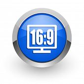 16 9 display blue glossy web icon