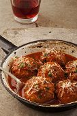 Meatballs in pan