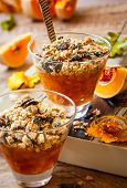 Sweet pumpkin crumble with pumpkin seeds and pine nut
