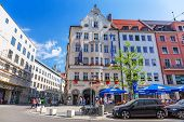 MUNICH, GERMANY - 19 JUNE 2014: People on the streets of Munich, Germany. Munich is the capital and largest city of the German state of Bavaria on the north of the Bavarian Alps.