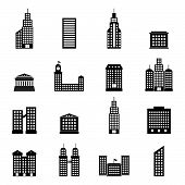 vector set of black buildings on white background