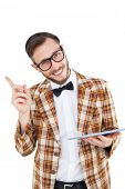 Geeky hipster holding a tablet pc on white background