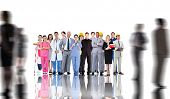 Smiling group of people with different jobs with silhouettes of business people