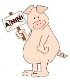 Pig with A/H1N1 placard.