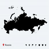 High detailed vector map of Russia with navigation pins.