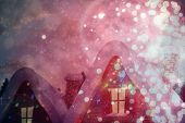 Cute christmas village against light design shimmering on red