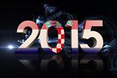 Croatia national flag against abstract glowing black background
