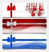 Holiday gift coupons with gift bows and Christmas balls, vector illustration.