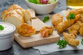 pic of endive  - Salmon in herb batter with spicy dressing  - JPG