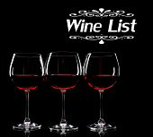 Glasses of wine isolated on black as Wine List