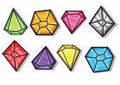 Cartoon Vector Gems And Diamonds Icons Set