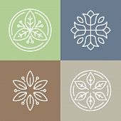 picture of monogram  - Vector floral icons and logo design templates in outline style  - JPG