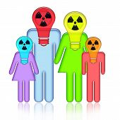 picture of nuclear family  - Radioactive abstract family standing together with children in respirators on heads with isolated over white background - JPG