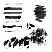 Set of black ink brush strokes and splotches