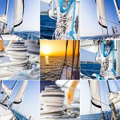 sea yacht, travel by sea, collage, set, collection of summer sail trip