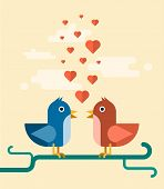 vector two birds singing love song