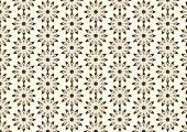 Brown Lovely Bloom In Modern Shape Pattern On Pastel Background