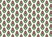 Green Retro Flower And Leaves Pattern In Classic Style