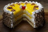 chestnut cake with passion fruit cover
