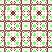 image of symmetry  - Red Vintage blossom and circle and hexagon and rectangle seamless pattern on pastel background - JPG