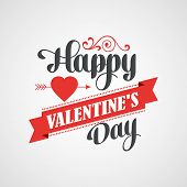 Happy Valentine's Day Lettering Card - Typographical Background With Ornaments, Hearts, Ribbon and A