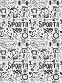 Sport Elements Doodles Hand Drawn Line Icon,eps10