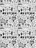 Kitchen Elements Doodles Hand Drawn Line Icon,eps10