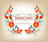happy thankgiving with leaves greeting card
