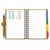 Ring Organizer Notebook With Pencil And Bookmark Paper