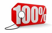 Label with 100% (clipping path included)