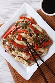 Japanese Soba With Chicken And Vegetables Top View Vertical