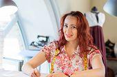 Seamstress woman at work