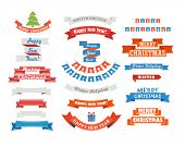 Different retro style christmas ribbons set isolated on white. Design elements