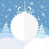 Christmas greeting card with white christmas bauble and snowflake background. Merry Christmas and Hapy New Year