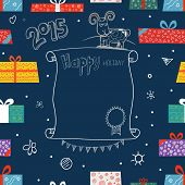 New Year greeting card. Different color gift boxes. Design elements