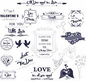 Set of vintage styled design romantic for valentine and wedding
